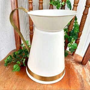 Large Farmhouse style metal pitcher